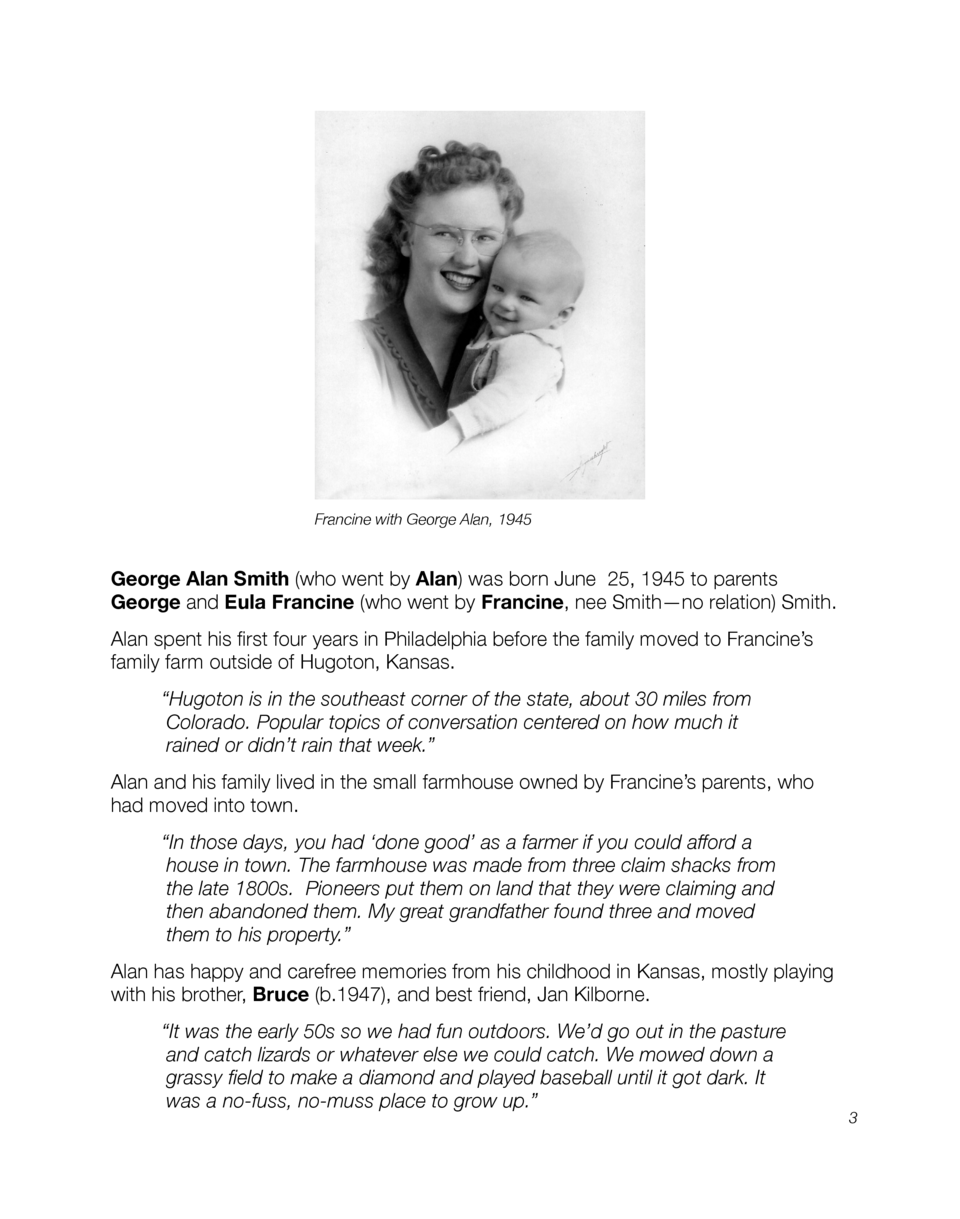 Francine with George Alan, 1945  George Alan Smith  who went by Alan  was born June 25, 1945 to parents George and Eula Fr...